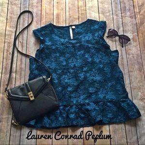 Lauren Conrad blue capsleeve peplum